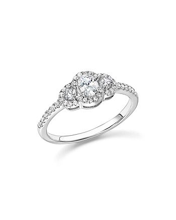 Bloomingdale's - Diamond Oval and Round Cut Center Ring in 14K White Gold, .50 ct. t.w. - 100% Exclusive