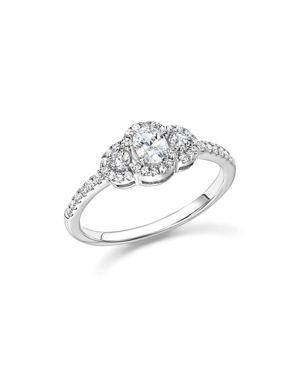 Diamond Oval and Round Cut Center Ring in 14K White Gold, .50 ct. t.w. - 100% Exclusive