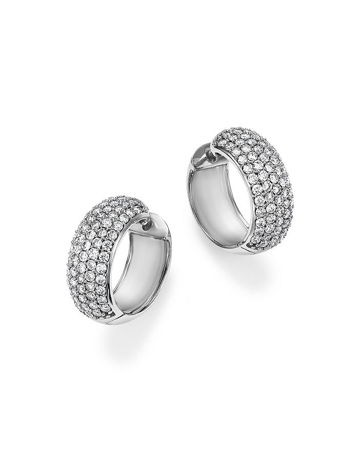 Bloomingdale's - Diamond Huggie Hoop Earrings in 14K White Gold, 1.50 ct. t.w. - 100% Exclusive