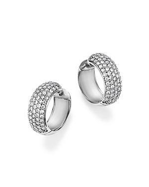 Diamond Huggie Hoop Earrings in 14K White Gold, 1.50 ct. t.w. - 100% Exclusive