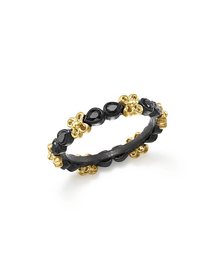 Armenta - 18K Yellow Gold and Blackened Sterling Silver Old World Black Sapphire Stacking Ring