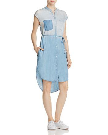 JACHS Girlfriend - Embroidered Chambray Shirt Dress
