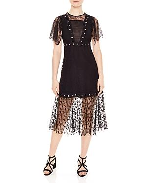 Sandro Priscilla Lace Illusion Dress