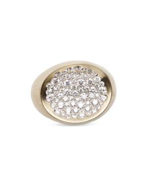 Antonini Matte 18K White Gold Matera Large Pave Silvermist Diamond Ring
