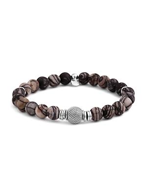 Tateossian Rhodium Mesh Bead Bracelet