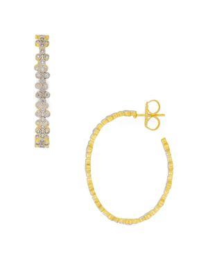 Freida Rothman Visionary Fusion Clover Hoop Earrings