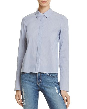Dylan Gray - Cropped Stripe Bell Sleeve Shirt - 100% Exclusive