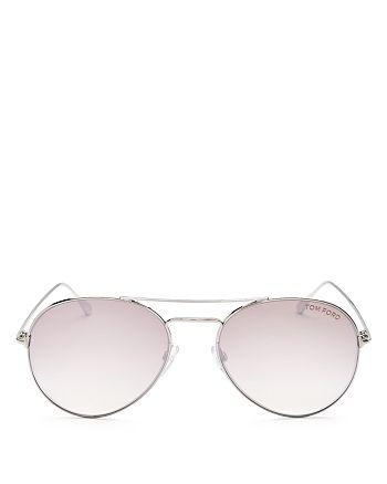 Tom Ford - Women's Ace Mirrored Brow Bar Aviator Sunglasses, 54mm
