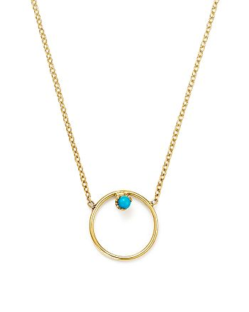 """Zoë Chicco - 14K Yellow Gold Turquoise Circle Necklace, 15"""""""
