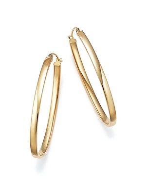 14K Yellow Gold Oval Tube Hoop Earrings - 100% Exclusive