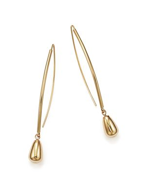 14K Yellow Gold Teardrop Threader Earrings - 100% Exclusive