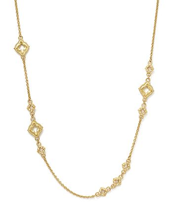 Armenta - 18K Yellow Gold Sueno Clover Scroll Station Champagne Diamond Necklace, 19""