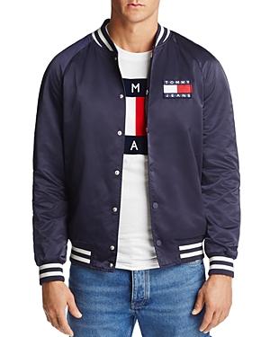 Tommy Hilfiger Satin Varsity Logo Bomber Jacket