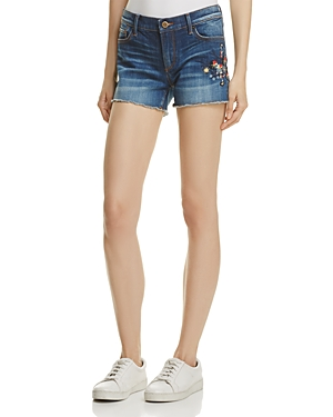 Aqua Floral-Embroidered Denim Shorts - 100% Exclusive