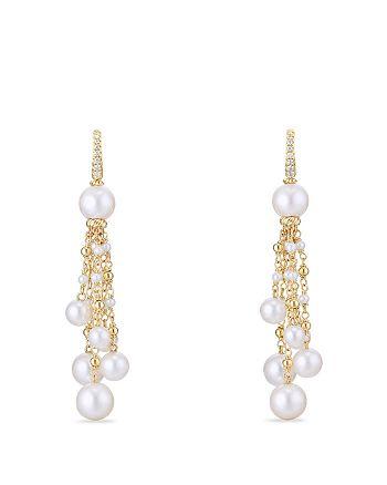 David Yurman - Oceanica Tassel Earrings with Cultured Freshwater Pearls and Diamonds in 18K Gold