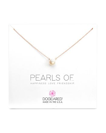 """Dogeared - Pearls of Happiness, Love, Friendship Necklace, 16"""""""