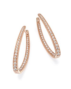 Diamond Inside Out Oval Hoop Earrings in 14K Rose Gold, 1.0 ct. t.w. - 100% Exclusive
