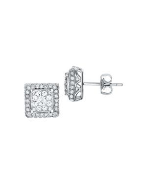 Diamond Cluster Square Stud Earrings in 14K White Gold, 1.0 ct. t.w.