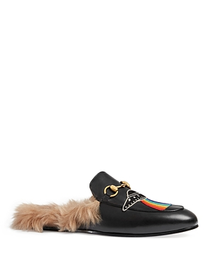 Gucci Leathers PRINCETOWN LEATHER SLIPPERS WITH APPLIQUES
