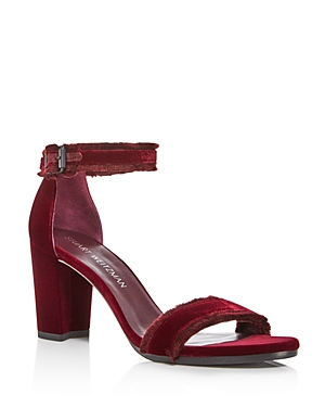 Stuart Weitzman Frayed Velvet Ankle Strap High Heel Sandals