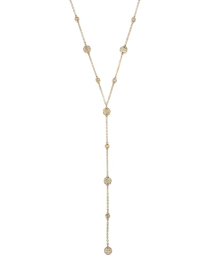 """Bloomingdale's - 14K Yellow Gold Textured Disc Y Necklace, 16"""" - 100% Exclusive"""