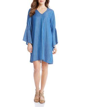 Karen Kane Chambray V-Neck Bell Sleeve Dress