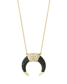 "Black and White Diamond Pendant Necklace in 14K Yellow Gold, 18"" - 100% Exclusive - Bloomingdale's_0"