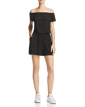Splendid Off-the-Shoulder Knit Ruffle Romper