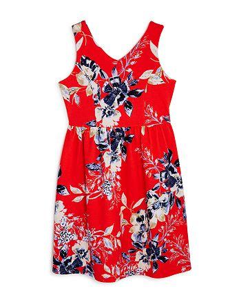 AQUA - Girls' V-Neck Floral Dress, Big Kid - 100% Exclusive