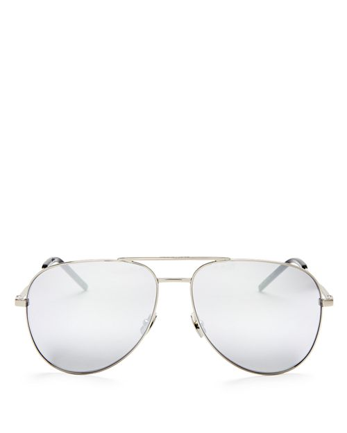 Saint Laurent - Men's Mirrored Brow Bar Aviator Sunglasses, 58mm