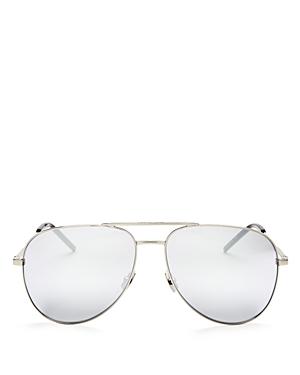 Saint Laurent Mirrored Brow Bar Aviator Sunglasses, 58mm