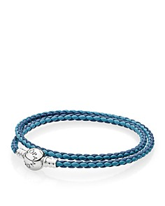 PANDORA Leather & Sterling Silver Woven Bracelet - Bloomingdale's_0