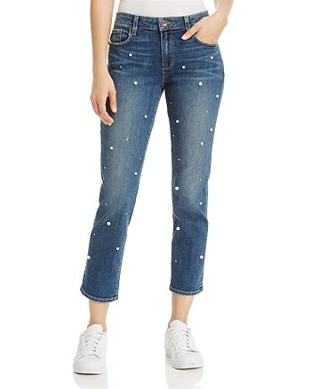 PAIGE - Brigitte Slim Boyfriend Crop Jeans in Allover Pearl