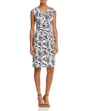 Adrianna Papell Floral Split Neck Shift Dress