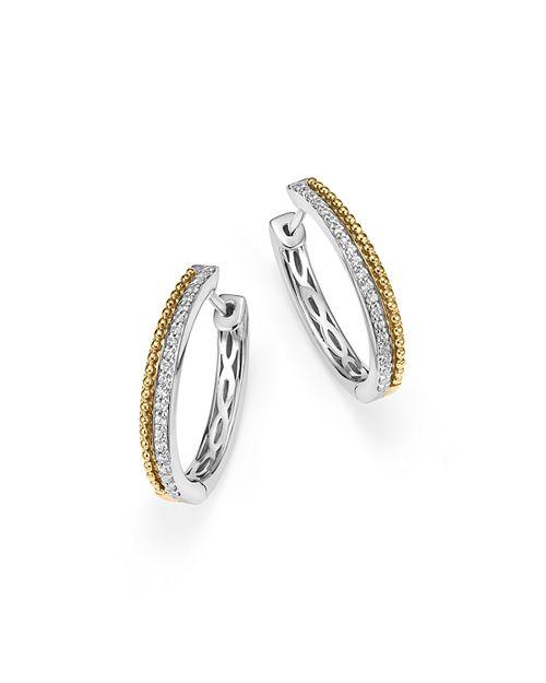 Bloomingdale's - Diamond Beaded Hoop Earrings in 14K White and Yellow Gold, .25 ct. t.w. - 100% Exclusive