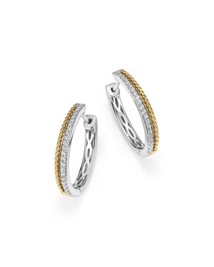 Diamond Beaded Hoop Earrings in 14K White and Yellow Gold, .25 ct. t.w. - 100% Exclusive