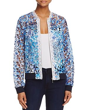 T Tahari Corey Open Lace Bomber Jacket