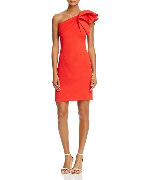 Avery G - One-Shoulder Ruffle Cocktail Dress