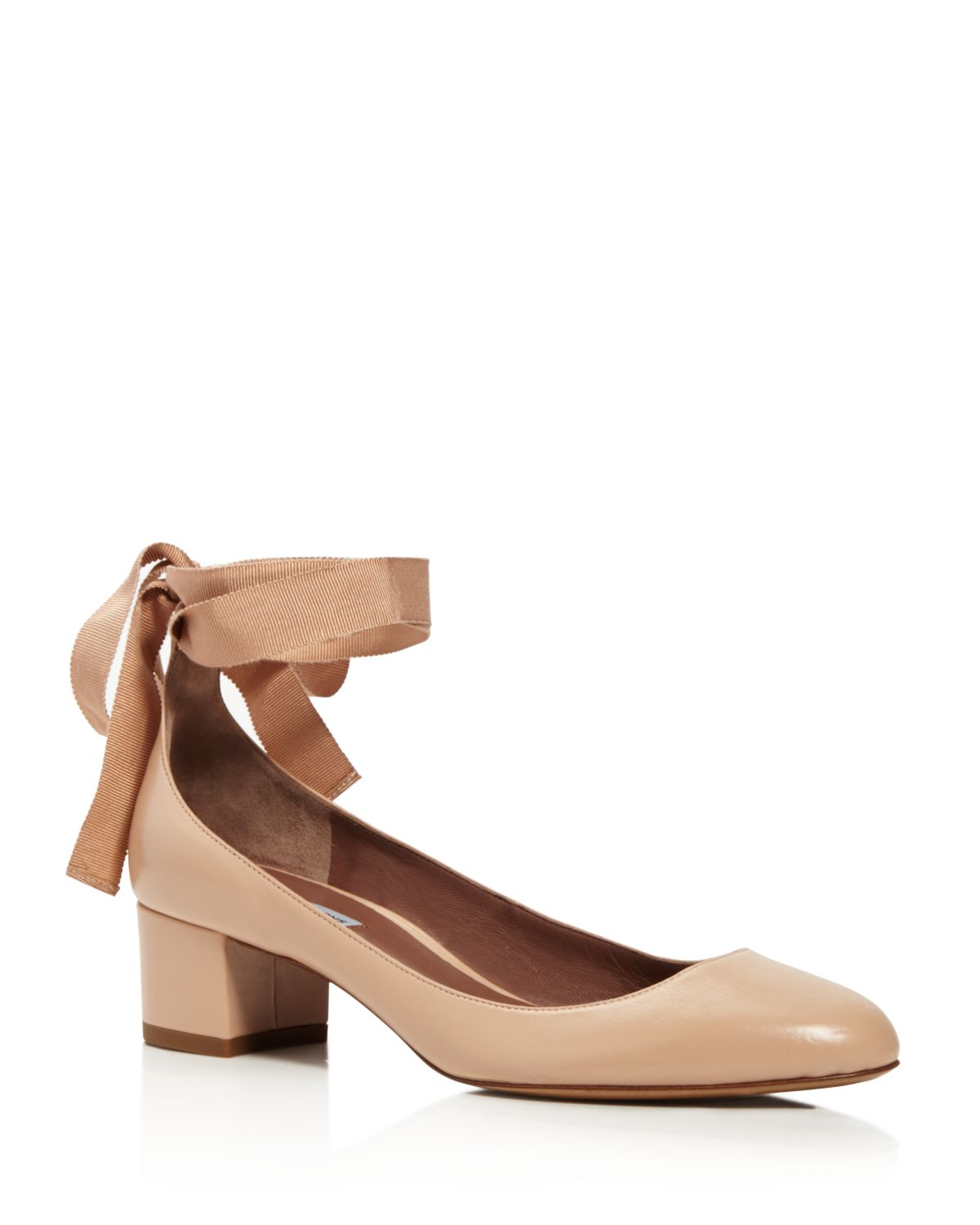 Tabitha Simmons Chloe Leather Ankle-Wrap Block Heel Pumps