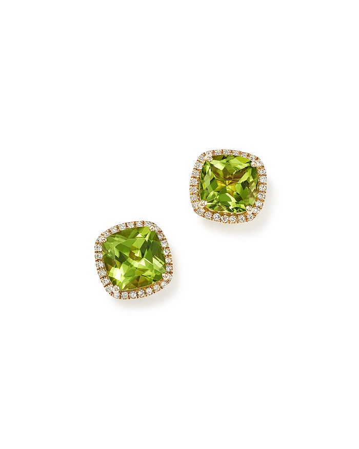 Bloomingdale's - Cushion-Cut Peridot and Diamond Halo Earrings in 14K Yellow Gold - 100% Exclusive