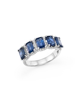 Bloomingdale's - Blue Sapphire and Diamond Statement Ring in 14K White Gold - 100% Exclusive