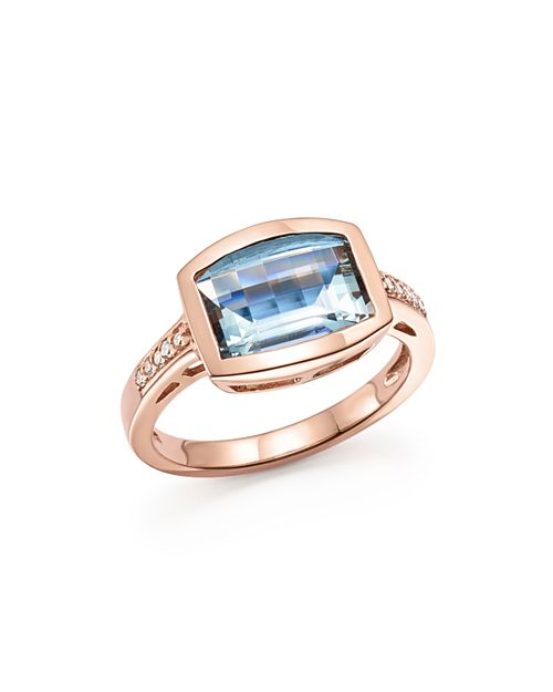 Bloomingdale's - Aquamarine and Diamond Statement Ring in 14K Rose Gold - 100% Exclusive