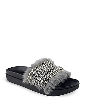 Kendall and Kylie Sammy Chain and Faux Fur Pool Slide Sandals