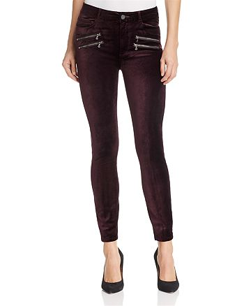 PAIGE - High Rise Edgemont Skinny Velvet Jeans in Black Cherry - 100% Exclusive