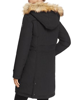 VINCE CAMUTO - Side Belted Faux Fur Trim Anorak