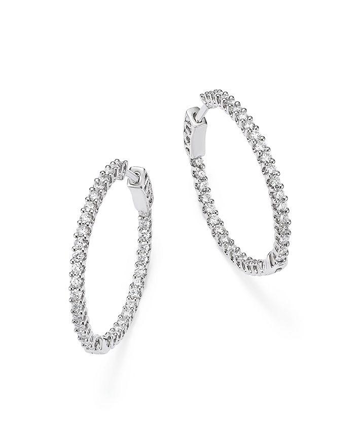 Bloomingdale's - Diamond Inside Out Hoop Earrings in 14K White Gold, 1.0 ct. t.w - 100% Exclusive
