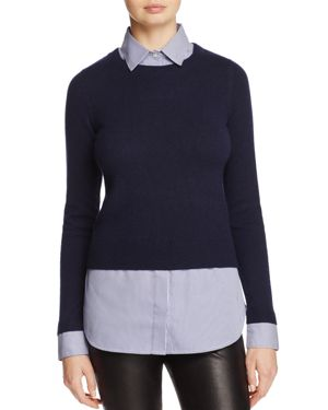 C by Bloomingdale's Cashmere & Poplin Layered Sweater - 100% Exclusive