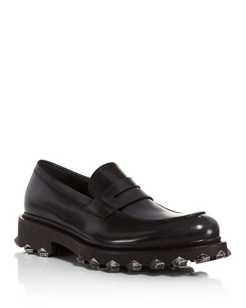 Salvatore Ferragamo - Men's Darsen Leather Loafers with Injected Rubber Spikes