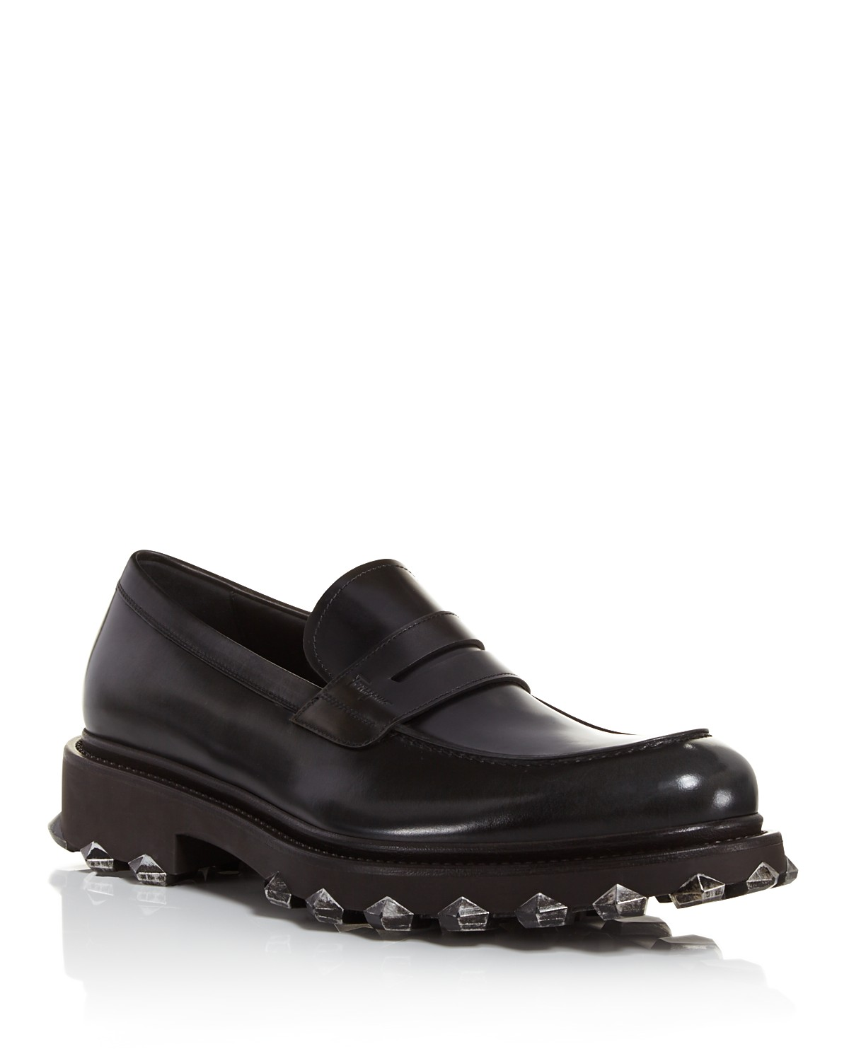 Salvatore FerragamoMen's Darsen Leather Loafers with Injected Rubber Spikes
