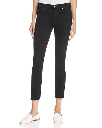 7 For All Mankind - Raw Hem Ankle Skinny Jeans in Black - 100% Exclusive